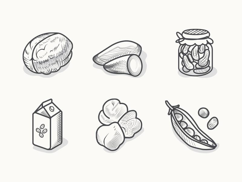 veggie-food-icons-bw