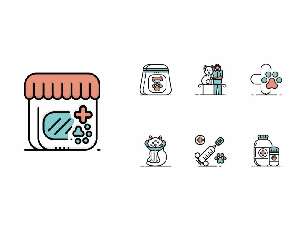 veterinary-pet-care-bicolor-icons
