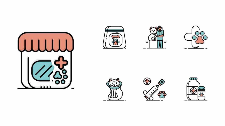 veterinary-pet-care-bicolor-icons
